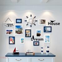 简约现代客厅卧室照片墙装饰组合相框挂墙创意个性照片冲印相片墙 C款:白蓝 地中海