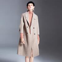 韩版2018流行秋装毛呢外套双面呢羊毛羊绒大衣女冬季中长款