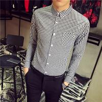 帅T小码丨码韩版修身长袖衬衫时尚瘦人贴身格子衬衣青少年打底