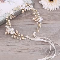 韩式结婚发饰白色发箍发绳配饰短发新娘头饰发带套装耳环手工