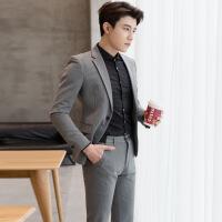 西服套装男士青年韩版修身条纹西装男休闲正装英伦风两件套