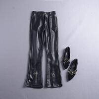 C0FSK#24秋冬季新高腰双口袋PU皮微喇休闲裤
