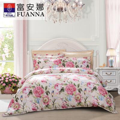 富安娜家纺 床上用品四件套 纯棉舒适床单被套 芬芳花意