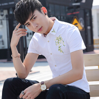 短袖衬衫男修身韩版百搭潮流帅气个性印花学生休闲薄款衬衣男