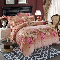 炫耀家纺全棉磨毛床上四件套冬加厚1.8m床纯棉被套4件套 玫红色 香榭魅影-咖