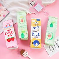 卡通简约牛奶盒笔袋中小学生可爱韩国创意大容量文具女简约铅笔盒