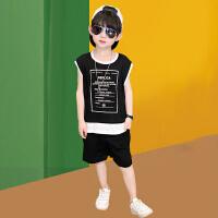 木木屋2021新款夏季男童无袖背心套装中大童运动男孩帅气夏季潮