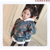 女童冬装2018新款韩版时尚加绒加厚套装小女孩衣服洋气时髦两件套