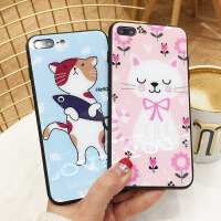 可爱猫咪苹果6plus手机壳玻璃iPhone7情侣卡通8保护套X彩绘外壳6s男个性创意8p小仙女XS Max手机套韩国