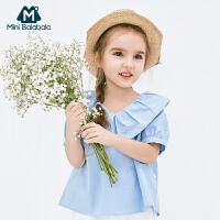 【913超品限时2件3折价:41.7】迷你巴拉巴拉女童纯棉衬衫2019夏季新款儿童复古衣服母女装亲子装