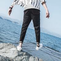 2017春新款工装牛仔裤男多口袋长裤宽松小脚哈伦裤男加肥加大码薄