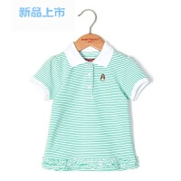 童装女童polo衫夏季新款女孩翻领条纹t恤儿童T恤女