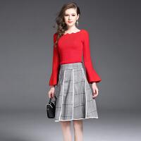 秋季新款喇叭袖花瓣领长袖针织衫格子半身裙套装连衣裙两件套