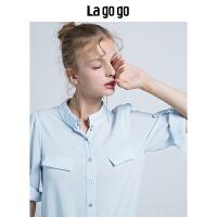 Lagogo/拉谷谷2019秋季新款女装纯色简约气质雪纺衫上衣女衬衫夏HCCC336C24