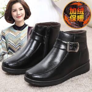 雪地靴女皮靴女冬季靴子女妈妈鞋棉鞋女加绒保暖中老年平底女鞋高筒皮靴子女2349DTH