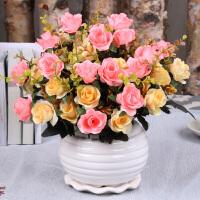仿真花客厅餐桌茶几装饰假花摆件绢花干花套装玫瑰满天星仿真花束 浅灰色 荷花瓶小欧玫粉