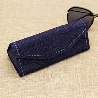 折叠近视眼镜盒男女小清新创意牛仔布太阳镜盒墨镜盒