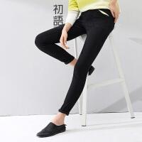 初语冬季新款 修身显瘦撞色小脚牛仔裤女8441902077