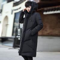 2018秋冬季男士棉衣中长款韩版连帽黑色棉袄加厚保暖男装外套