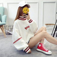 冬季新款ulzzang套头加绒卫衣女韩版潮学生宽松BF风圆领上衣服