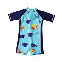 儿童泳衣男童中大童连体游泳衣小童宝宝短袖套装速干舒适