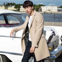GXG毛呢大衣男装 冬季男士时尚中长款休闲羊毛呢大衣修身外套男