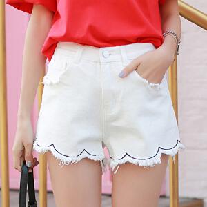 哆哆何伊韩版新款白色花边短裤女 显瘦韩版高腰破洞牛仔短裤子