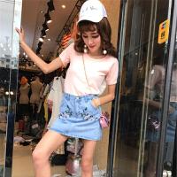 夏装新款立体蝴蝶结短袖上衣+刺绣牛仔半身裙休闲洋气套装