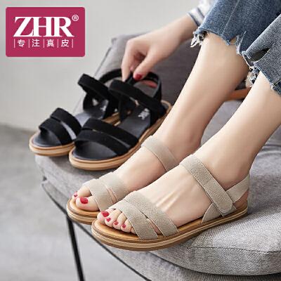 ZHR2018夏季新款平底运动凉鞋魔术贴学生女鞋简约chic平跟潮鞋子V73