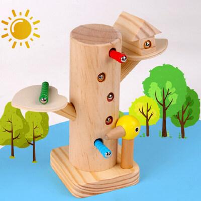 啄木鸟玩具捉虫1岁宝宝早教益智力动脑磁性抓吃钓鱼男女孩婴幼儿 榉木材芯 健康伴你行