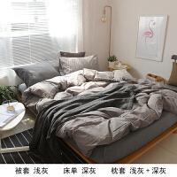 简约日式水洗棉棉格子裸睡床笠床单四件套被套全棉床上用品
