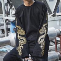2017刺绣龙上衣女长袖t恤男宽松大码中国风男装秋装黑色情侣装TEE