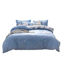 南极人(NanJiren)北欧风印花床上用品套件 床单 被套 枕套