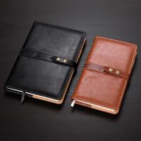 5铜扣皮面商务记事本笔记本文具本子加厚日记本A6便携小本礼盒装