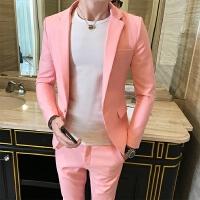 春季韩版修身社会人便西服套装粉色男休闲小西装精神小伙发型师潮