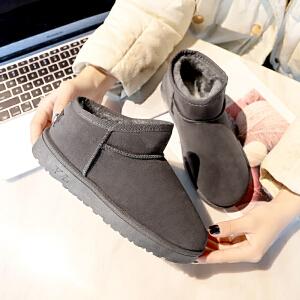 雪地靴女短筒2018冬季新款保暖棉鞋学生休闲加绒加厚平底防滑女靴2335DTH