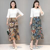 2018春装新款民族风中国风女装高腰显瘦两件套波西米亚长裙沙滩裙