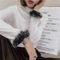 毛毛袖打底T恤复古金丝绒面半高领上衣气质淑女基础明星同款百搭