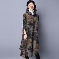 秋冬风衣女大码显瘦收腰中年民族风加厚中长款印花呢子大衣外套