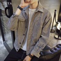 春装日系灯芯绒夹克男士加肥加大码上衣服韩版青少年外套潮流男装