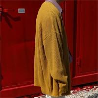 新款秋装长袖韩版学院青年纯色针织开衫情侣装宽松毛衣外套 男