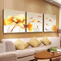 客厅装饰画沙发背景墙无框三联画简约现代九鱼图壁画餐厅卧室挂画SN0385 80*80三联 整套价格直接拍数量1