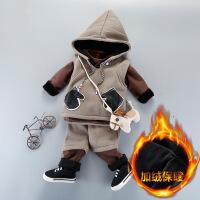 男宝宝加厚棉衣套装1一2-3岁男童加绒三件套秋冬童装婴儿衣服潮0