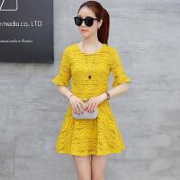 蕾丝连衣裙显瘦套装裙两件套2018夏季新款女韩版时尚裙子a字裙潮