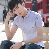 夏季衬衫男短袖韩版修身潮流百搭学生渐变个性潮男印花衬衣潮