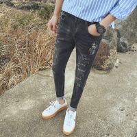 新款青少年小码2018秋装刮破男式牛仔裤韩版修身偏小号27码26小脚