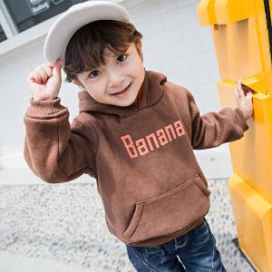 【尾品汇 129元3件】帕丁猫童装2018冬季新款男童中小童印花加绒连帽卫衣