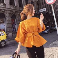 2018夏季新款女装名媛气质纯色收腰显瘦小裙摆橘色上衣潮送腰带