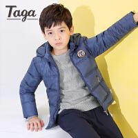 taga童装 男童冬季羽绒服儿童连帽短款白鸭绒外套秋季新款加厚袄子