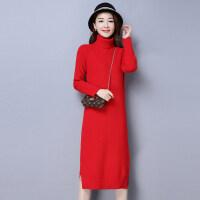 红色高领毛衣女秋冬季加厚大红色打底衫超长款毛衣裙过膝